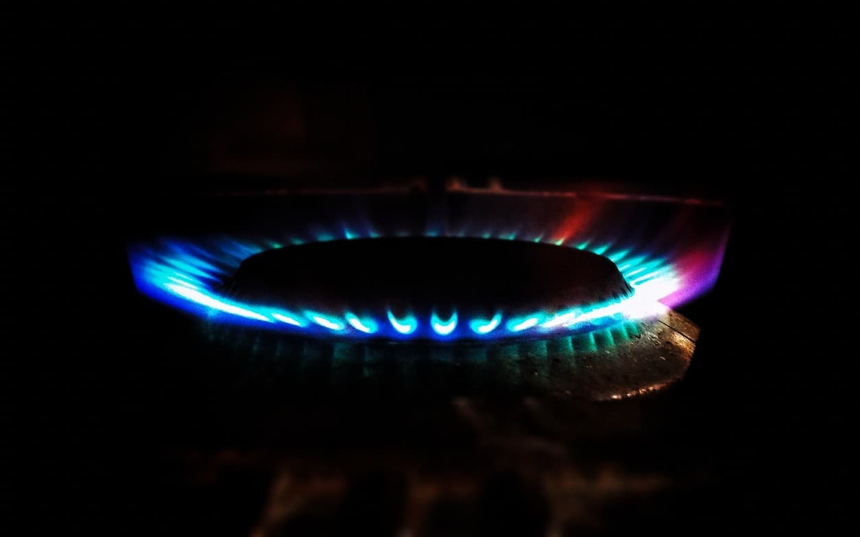 Blue flame from a gas stove up close